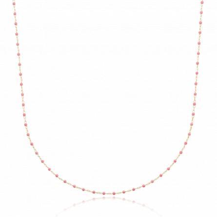 Collier plaqué or perle Miyuki rose