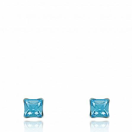 耳环 女士 银  lune 5 方形 蓝色