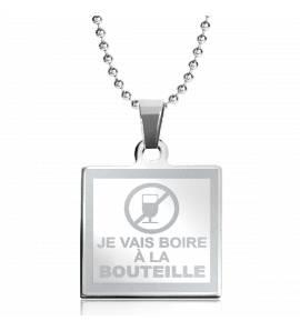 项链 不锈钢 Boire A la Bouteille 方形