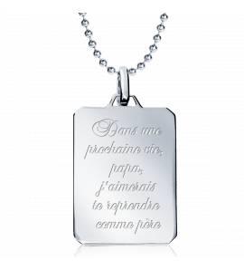 项链 男士 银 Dans une prochaine vie ... 矩形