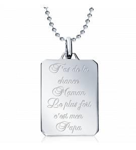 项链 男士 银 Maman la plus fort ....