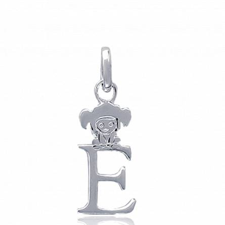 项链坠 孩子 银  E lutin 字母