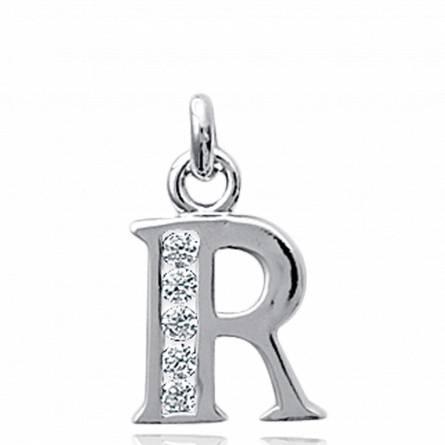 项链坠 女士 银 R 字母