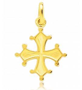 Gold Languedoc crosses yellow pendant