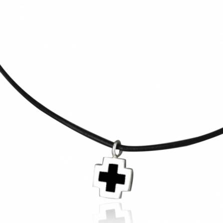 Halsketten herren leder Minimaliste croix cuir schwarz