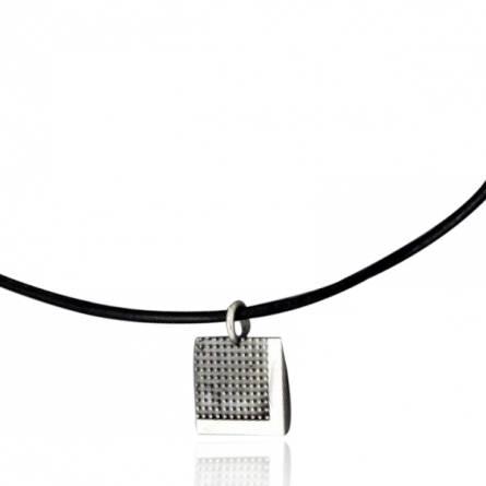 Halsketten herren leder Pixelisée  schwarz