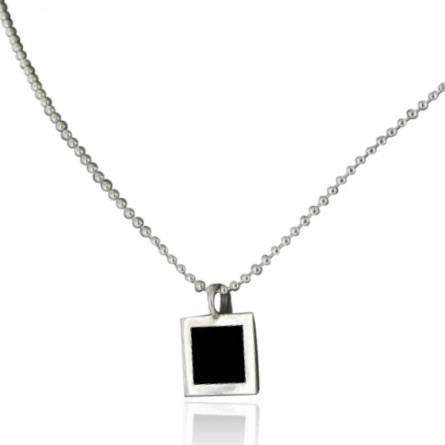 Halsketten herren silber Minimaliste  schwarz