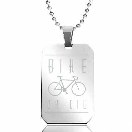 Halsketten herren stahl Bike Or Die rechteck