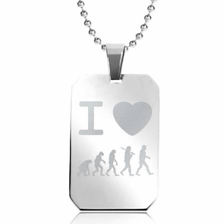Halsketten herren stahl I Love Evolution rechteck kugelkette