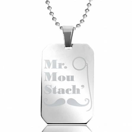 Halsketten herren stahl Mr Moustach' rechteck