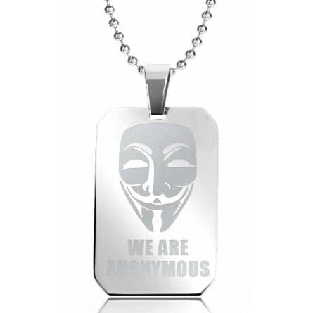 Halsketten herren stahl We Are Anonymous 2 rechteck kugelkette