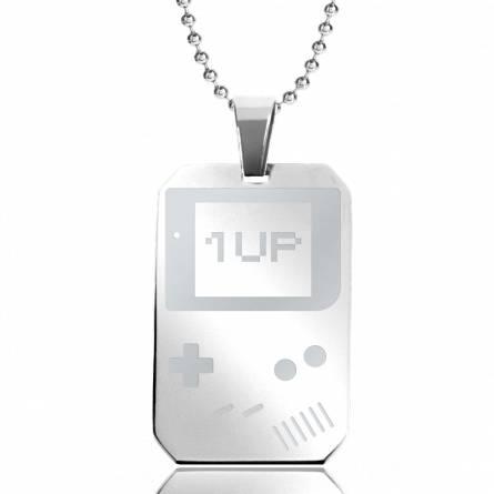 Halsketten stahl Game Boy 1 Up rechteck kugelkette