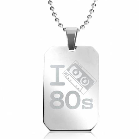 Halsketten stahl I Love 80'S rechteck kugelkette