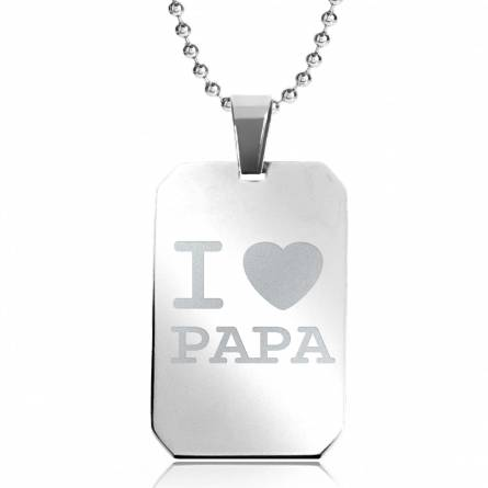Halsketten stahl I love Papa rechteck kugelkette