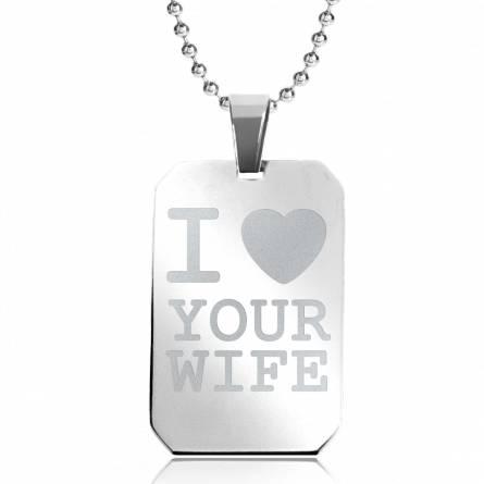 Halsketten stahl I Love Your Wife rechteck kugelkette