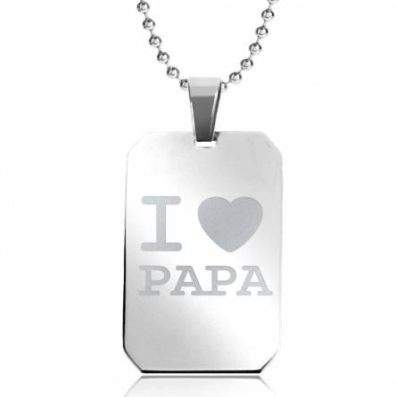 Halskettingen roestvrijstaal I love Papa rechthoekig bolletjes