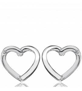 Heart  Silver Diamond Earring