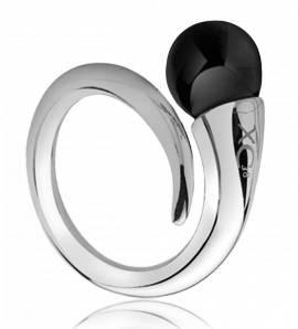 Inel femei oțel Black pearl negru