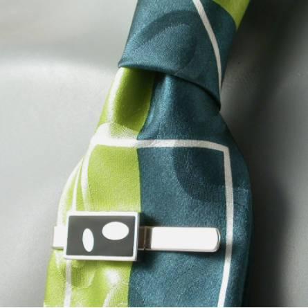 Krawattenhalter herren silber Art Déco Ovala schwarz
