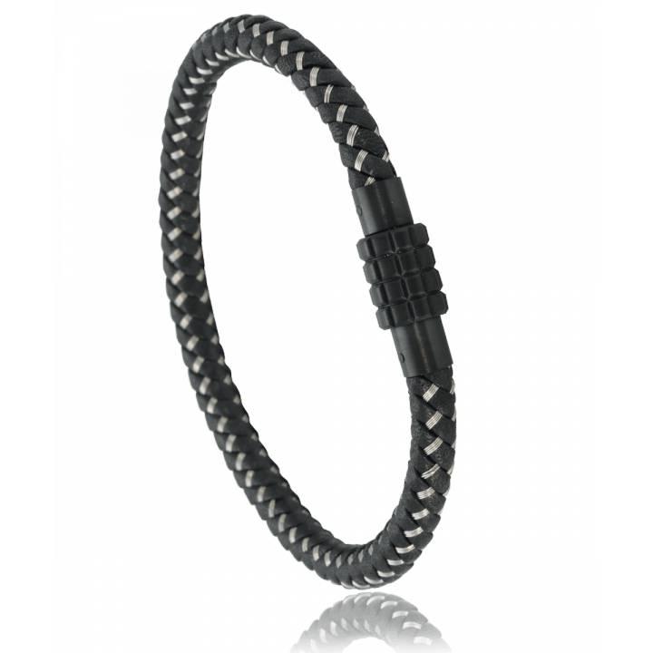 Man Leather Stainless Steel Blacktwisted Steel Murat Paris Bracelet