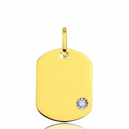 Médaille Diamant Rectangulaire Or
