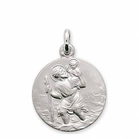 Médaille Or blanc Saint Christophe Protecteur