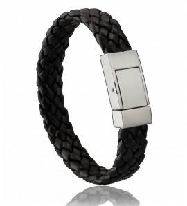 Man bracelet leather black monarch