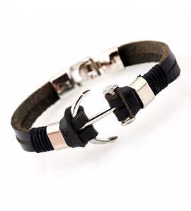 Man leather Jean ancre black bracelet