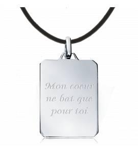 Man leather Mon coeur pour ..... rectangles brown necklace