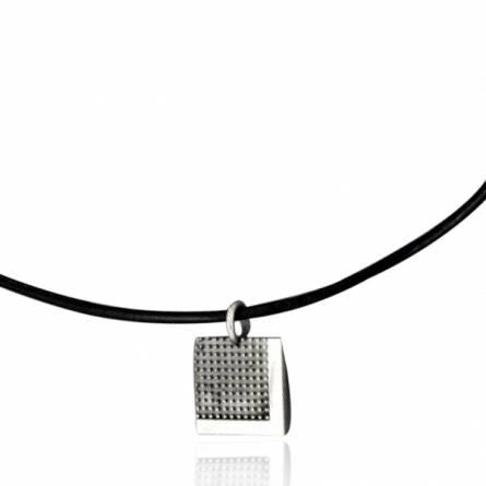 Man leather Pixelisée  black necklace