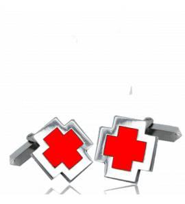 Man silver Eulalie  red cufflinks