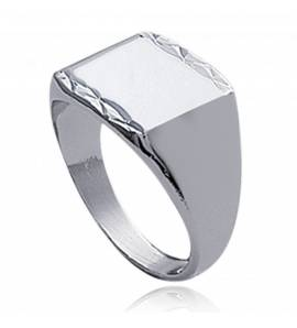 Man silver  lévitation 1 square ring