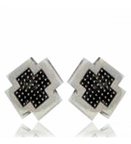 Man silver Minimaliste pixelisée earring