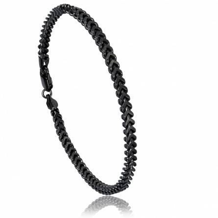 Man silver Nicolas black bracelet