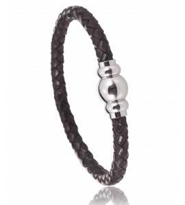 Man stainless steel Aprilia brown bracelet