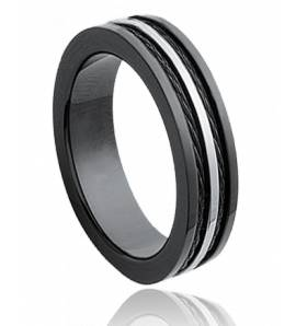 Man stainless steel Cables 5 black ring