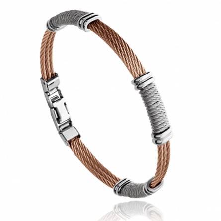 Man stainless steel Côme brown bracelet
