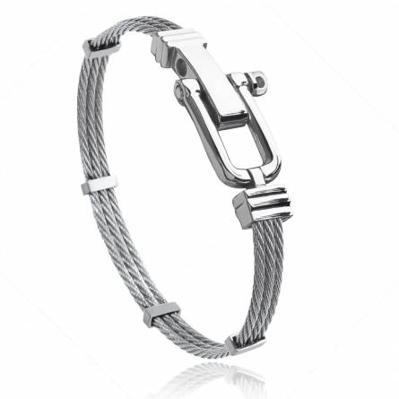 Man stainless steel Carmel grey bracelet