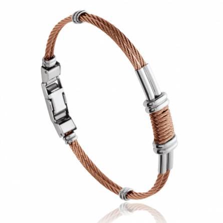 Man stainless steel Férréol brown bracelet