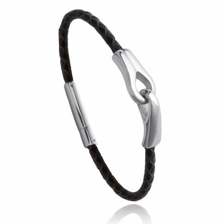 Man stainless steel Floréal black bracelet