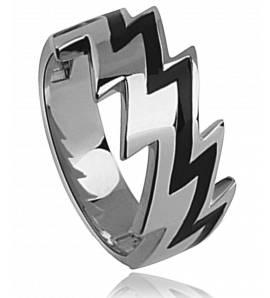 Man stainless steel Initia black ring
