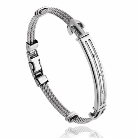 Man stainless steel Leandre grey bracelet