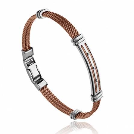 Man stainless steel Néo brown bracelet