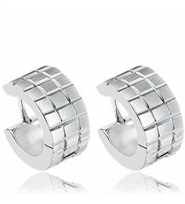 Man stainless steel Quadrillées earring