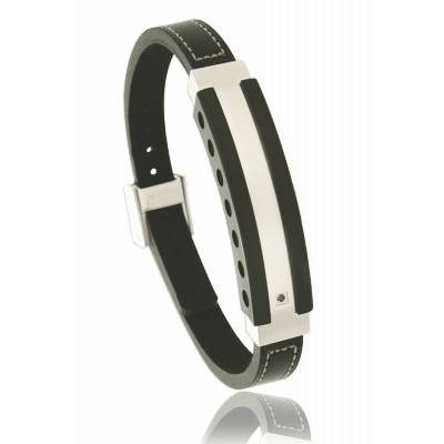 Man stainless steel Séisme black bracelet
