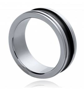 Man stainless steel Symbolique black ring