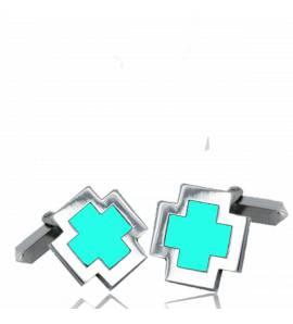 Manchetknopen heren zilver Eulalie turquoise
