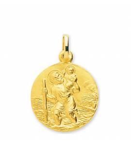Medaillon en Or Saint Christophe avec Jésus dans l'eau