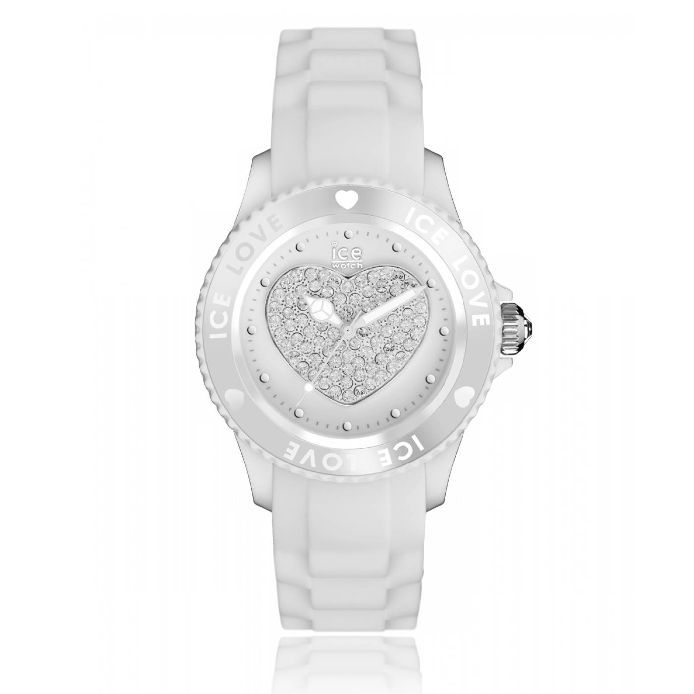 montre coeur femme love silicone blanc ice watch. Black Bedroom Furniture Sets. Home Design Ideas