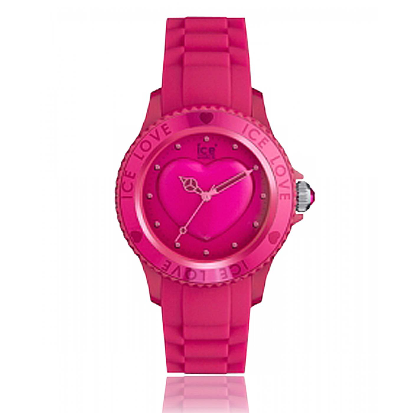 montre coeur femme love silicone rose ice watch. Black Bedroom Furniture Sets. Home Design Ideas